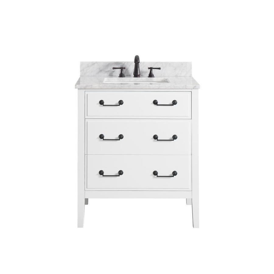 Avanity White Undermount Single Sink Poplar Bathroom Vanity with Natural Marble Top (Common: 31-in x 22-in; Actual: 31-in x 22-in)
