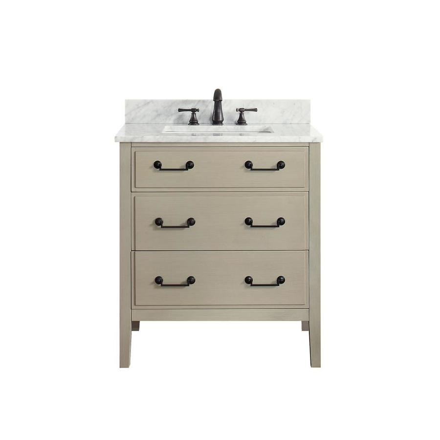 Avanity Taupe Glaze Undermount Single Sink Poplar Bathroom Vanity with Natural Marble Top (Common: 31-in x 22-in; Actual: 31-in x 22-in)