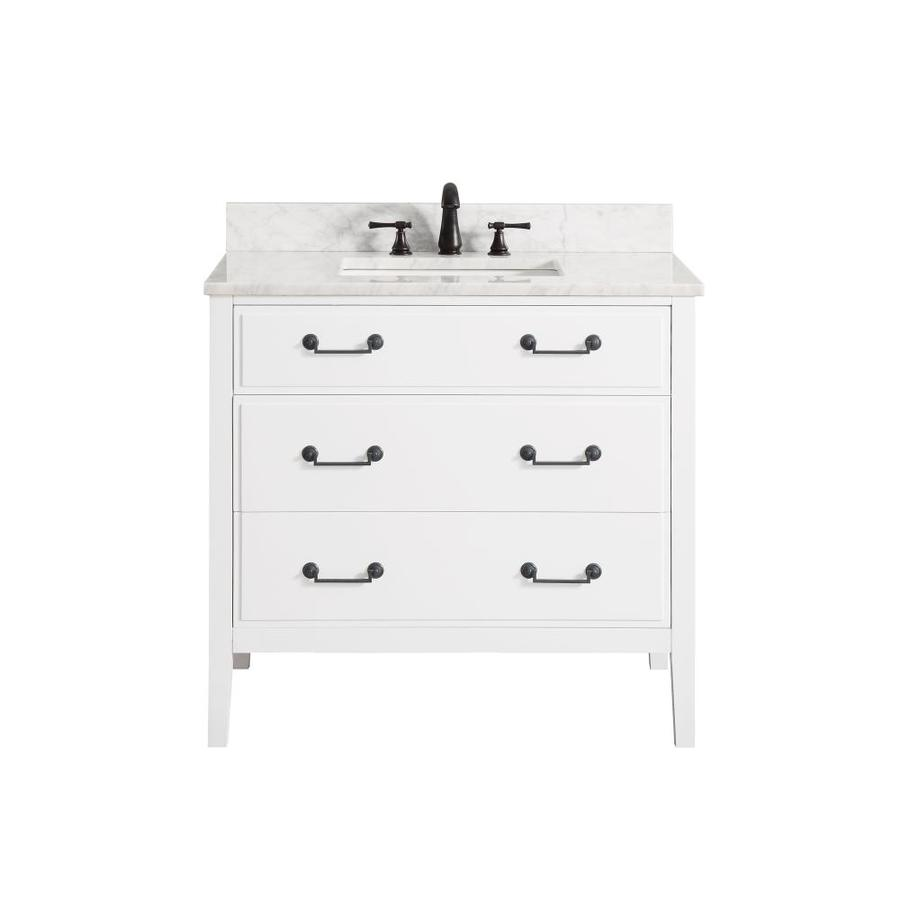 Avanity White Undermount Single Sink Poplar Bathroom Vanity with Natural Marble Top (Common: 37-in x 22-in; Actual: 37-in x 22-in)