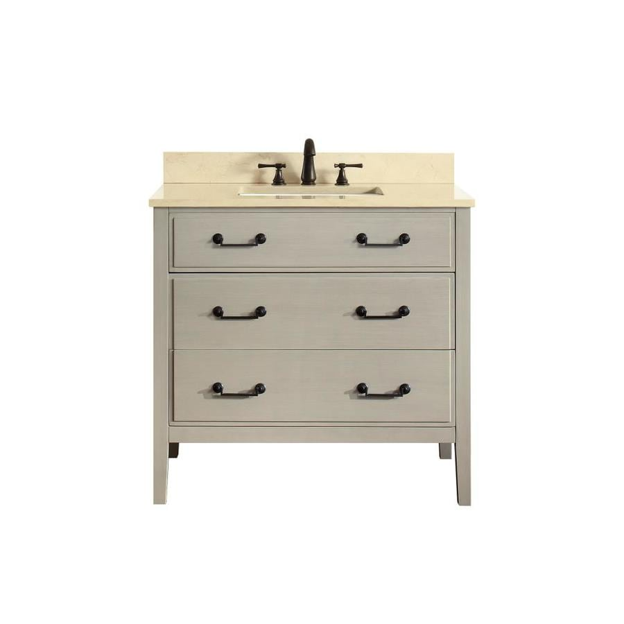 Avanity Taupe Glaze Undermount Single Sink Poplar Bathroom Vanity with Natural Marble Top (Common: 37-in x 22-in; Actual: 37-in x 22-in)