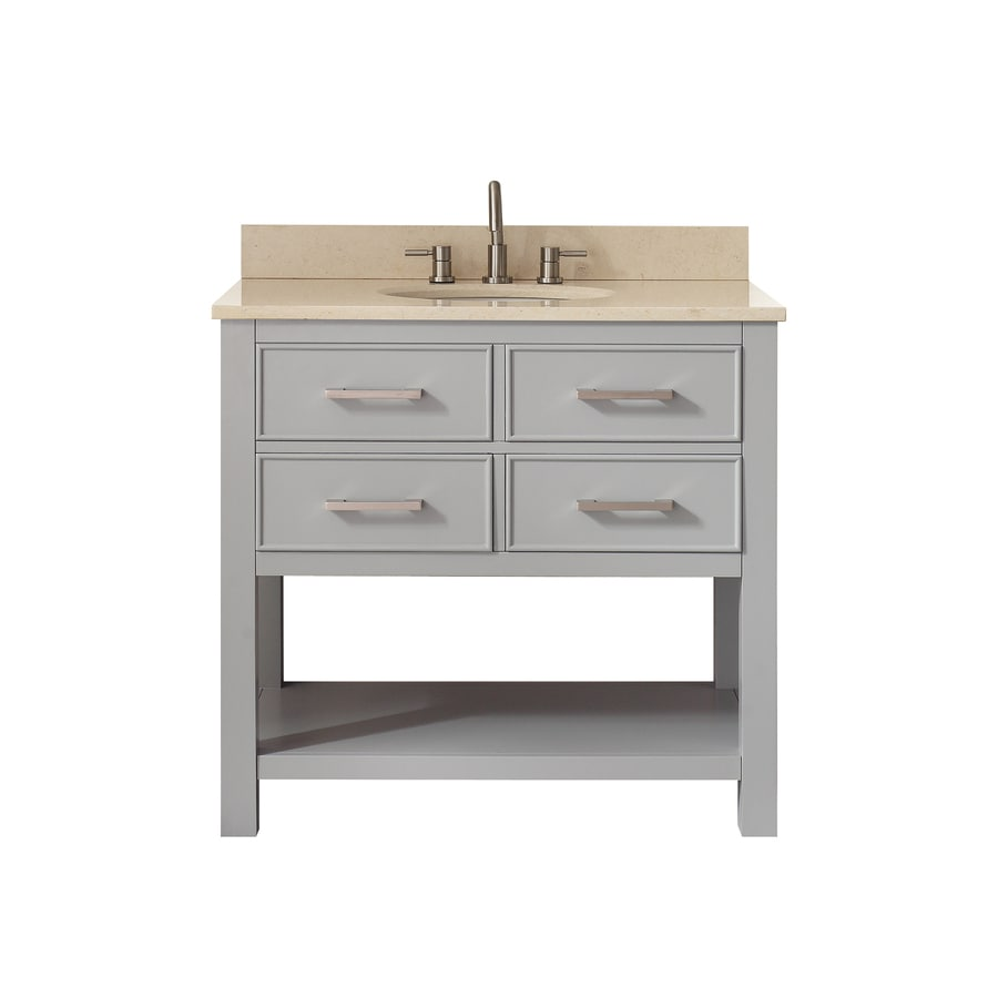 Avanity Chilled Gray Undermount Single Sink Poplar Bathroom Vanity with Natural Marble Top (Common: 37-in x 22-in; Actual: 37-in x 22-in)