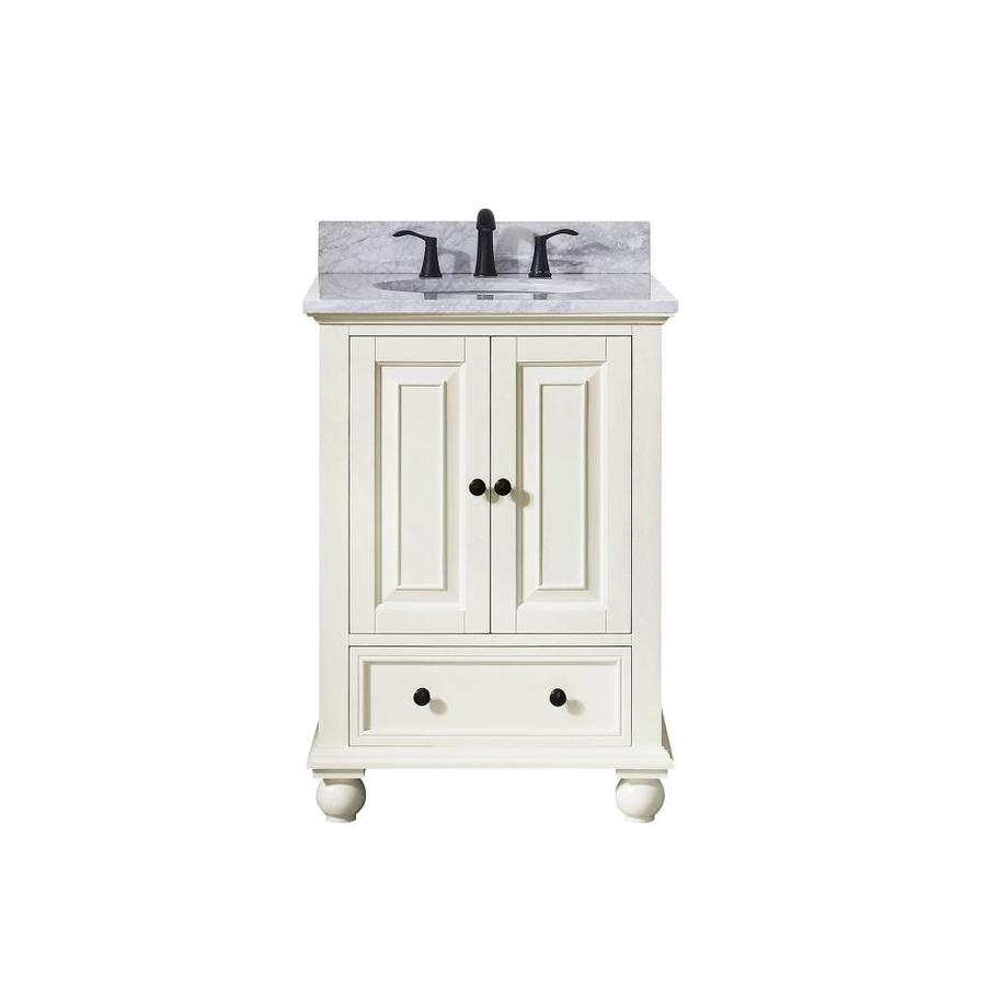 Avanity French White Undermount Single Sink Poplar Bathroom Vanity with Natural Marble Top (Common: 25-in x 22-in; Actual: 25-in x 22-in)