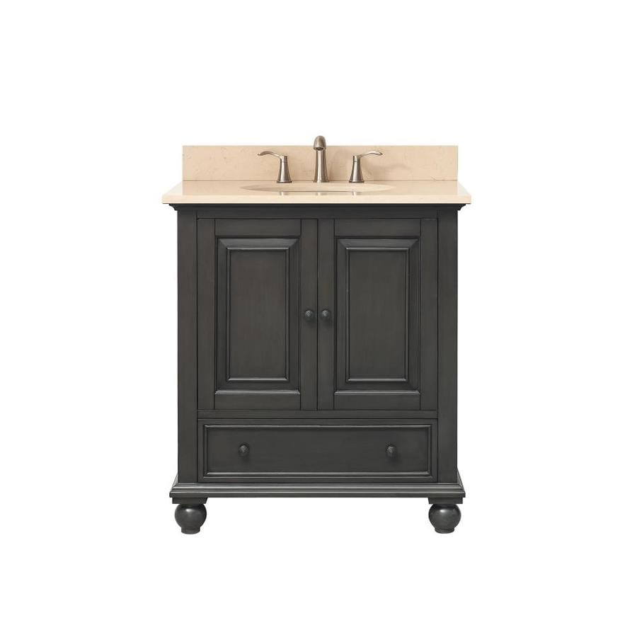 Avanity Charcoal Glaze Undermount Single Sink Poplar Bathroom Vanity with Natural Marble Top (Common: 31-in x 22-in; Actual: 31-in x 22-in)