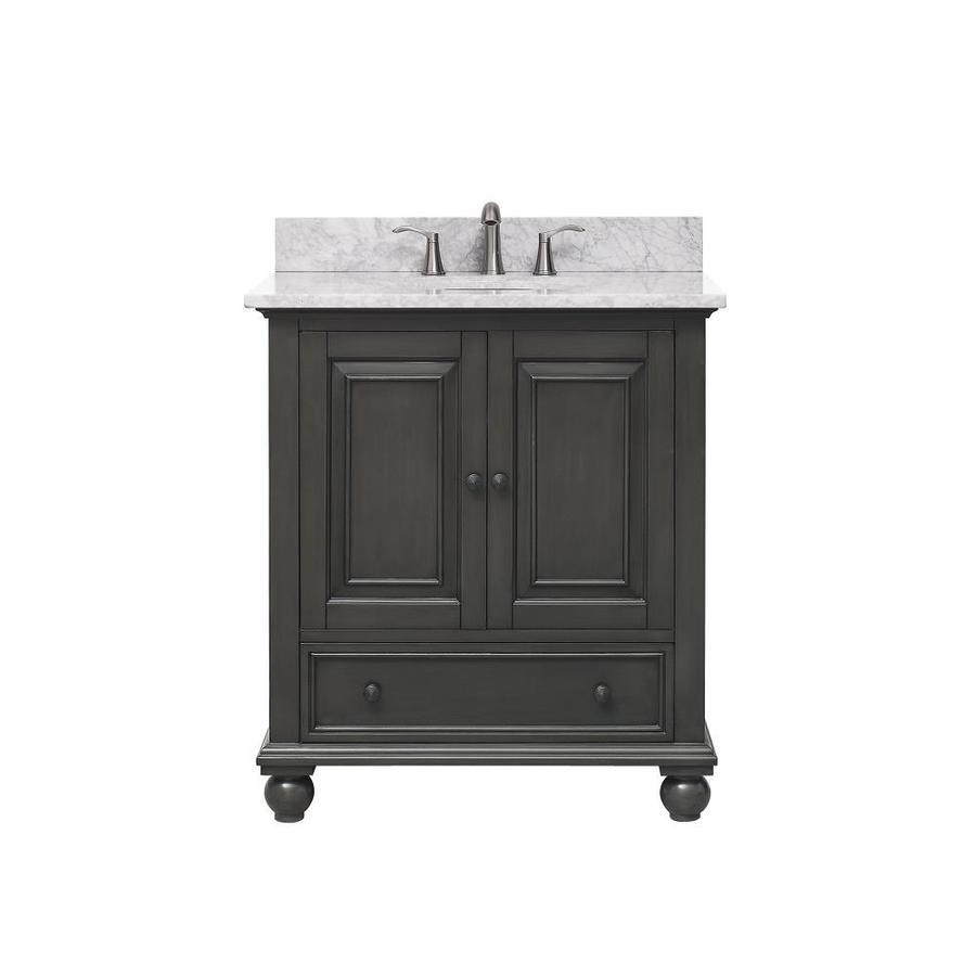 Avanity Charcoal Glaze Undermount Single Sink Poplar Bathroom Vanity with Natural Marble Top (Common: 31-in x 22-in; Actual: 31-in x 22-in)