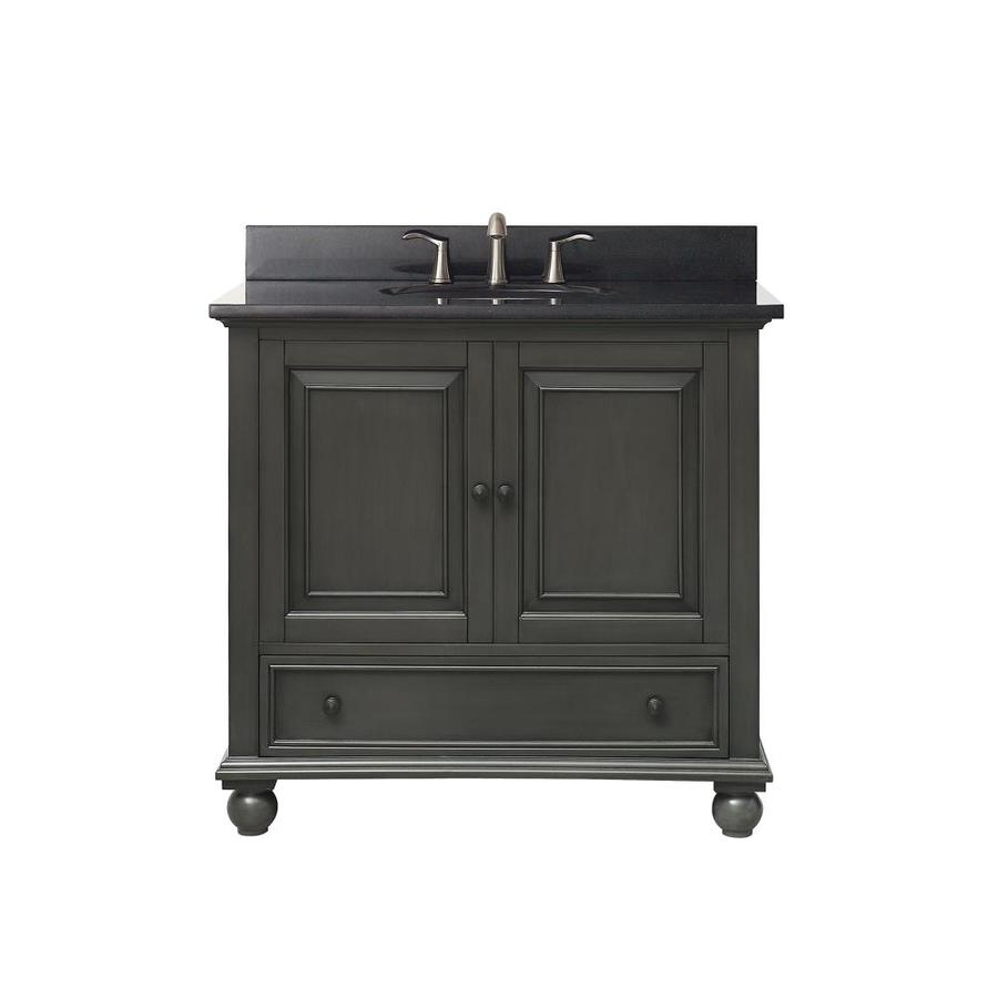Avanity Charcoal Glaze Undermount Single Sink Poplar Bathroom Vanity with Granite Top (Common: 37-in x 22-in; Actual: 37-in x 37-in)