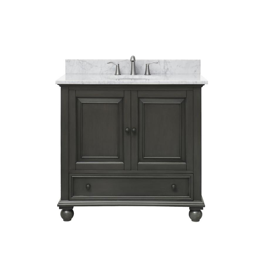 Avanity Charcoal Glaze Undermount Single Sink Poplar Bathroom Vanity with Natural Marble Top (Common: 37-in x 22-in; Actual: 37-in x 37-in)