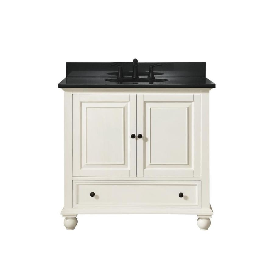 Avanity French White Undermount Single Sink Poplar Bathroom Vanity with Granite Top (Common: 37-in x 22-in; Actual: 37-in x 37-in)