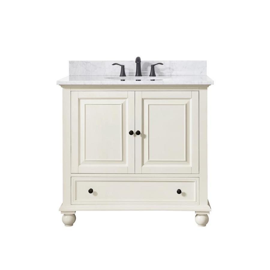 Avanity French White Undermount Single Sink Poplar Bathroom Vanity with Natural Marble Top (Common: 37-in x 22-in; Actual: 37-in x 37-in)