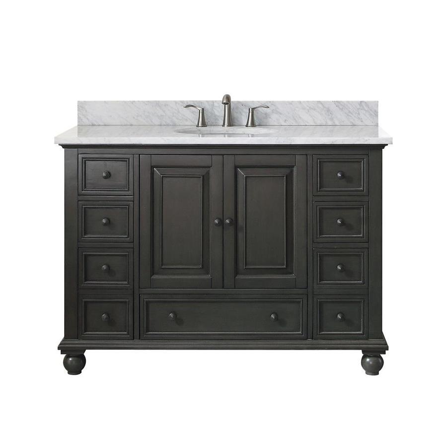 Avanity Charcoal Glaze Undermount Single Sink Poplar Bathroom Vanity with Natural Marble Top (Common: 49-in x 22-in; Actual: 49-in x 49-in)
