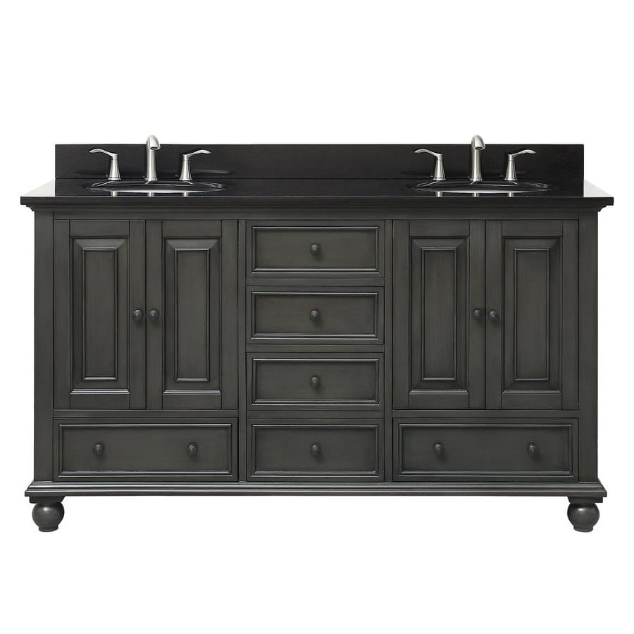 Avanity Charcoal Glaze Undermount Double Sink Poplar Bathroom Vanity with Granite Top (Common: 61-in x 22-in; Actual: 61-in x 61-in)