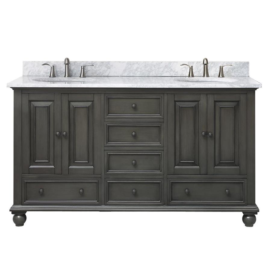 Avanity Charcoal Glaze Undermount Double Sink Poplar Bathroom Vanity with Natural Marble Top (Common: 61-in x 22-in; Actual: 61-in x 61-in)
