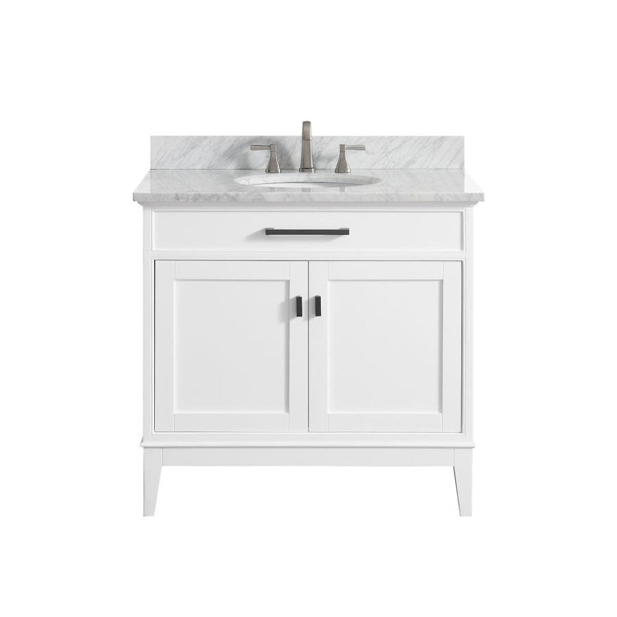 Avanity White Undermount Single Sink Birch/Poplar Bathroom Vanity with Natural Marble Top (Common: 37-in x 22-in; Actual: 37-in x 22-in)