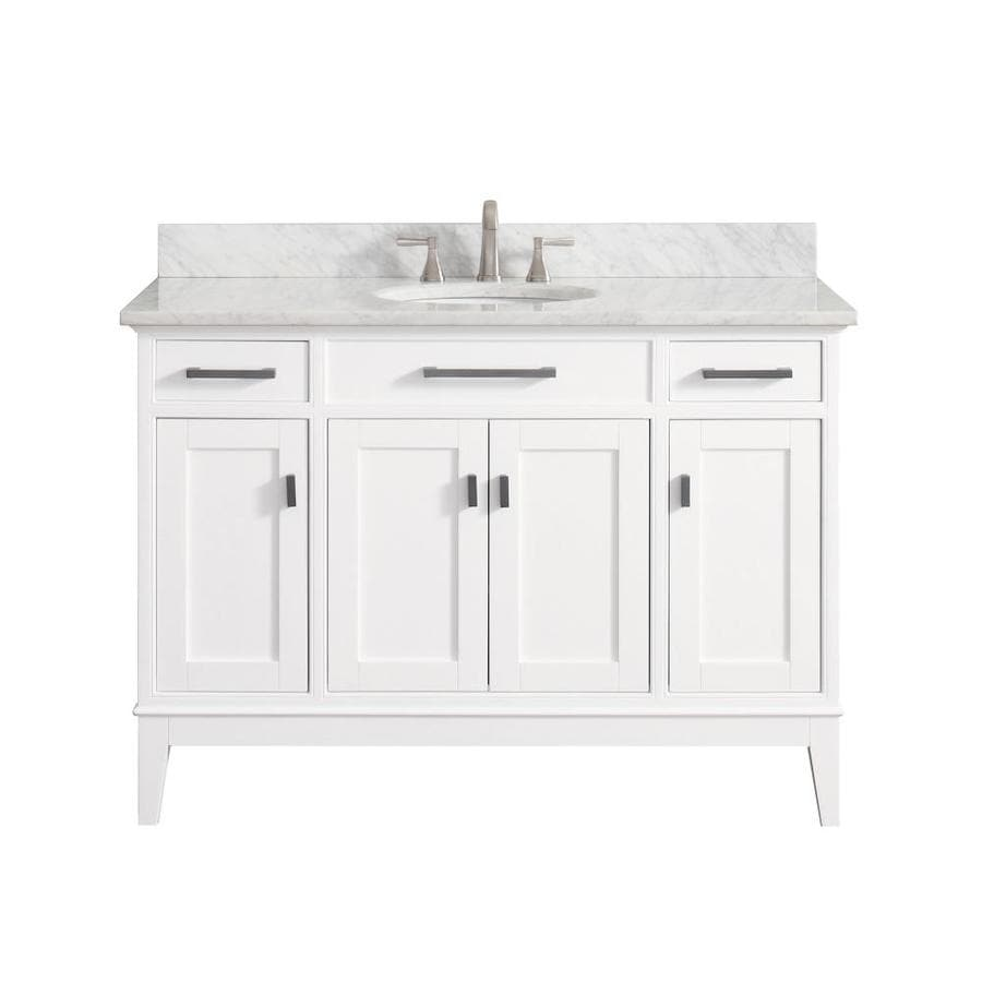 Avanity Madison White Undermount Single Sink Birch/Poplar Bathroom Vanity with Natural Marble Top (Common: 49-in x 22-in; Actual: 49-in x 22-in)