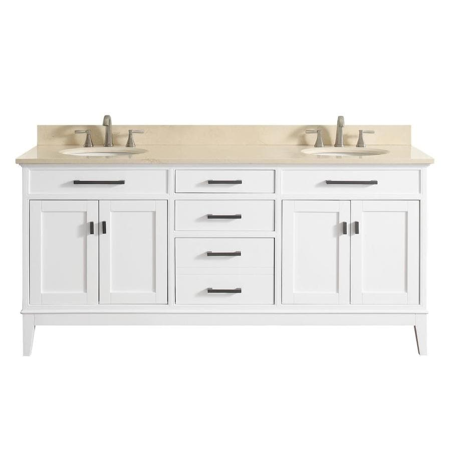 Avanity Madison White Undermount Double Sink Birch/Poplar Bathroom Vanity with Natural Marble Top (Common: 73-in x 22-in; Actual: 73-in x 22-in)