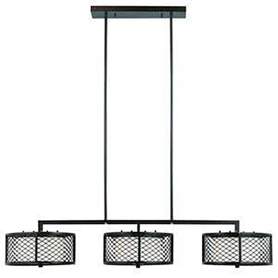 Attica 46-in W 6-Light Bronze Kitchen Island Light with Frosted Shade