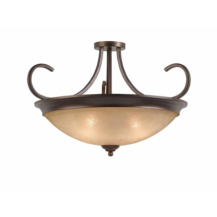 Raissa 27-in W Bronze Tea-Stained Glass Semi-Flush Mount Light