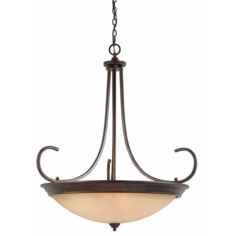 Anitra 38-in Bronze Single Tinted Glass Pendant