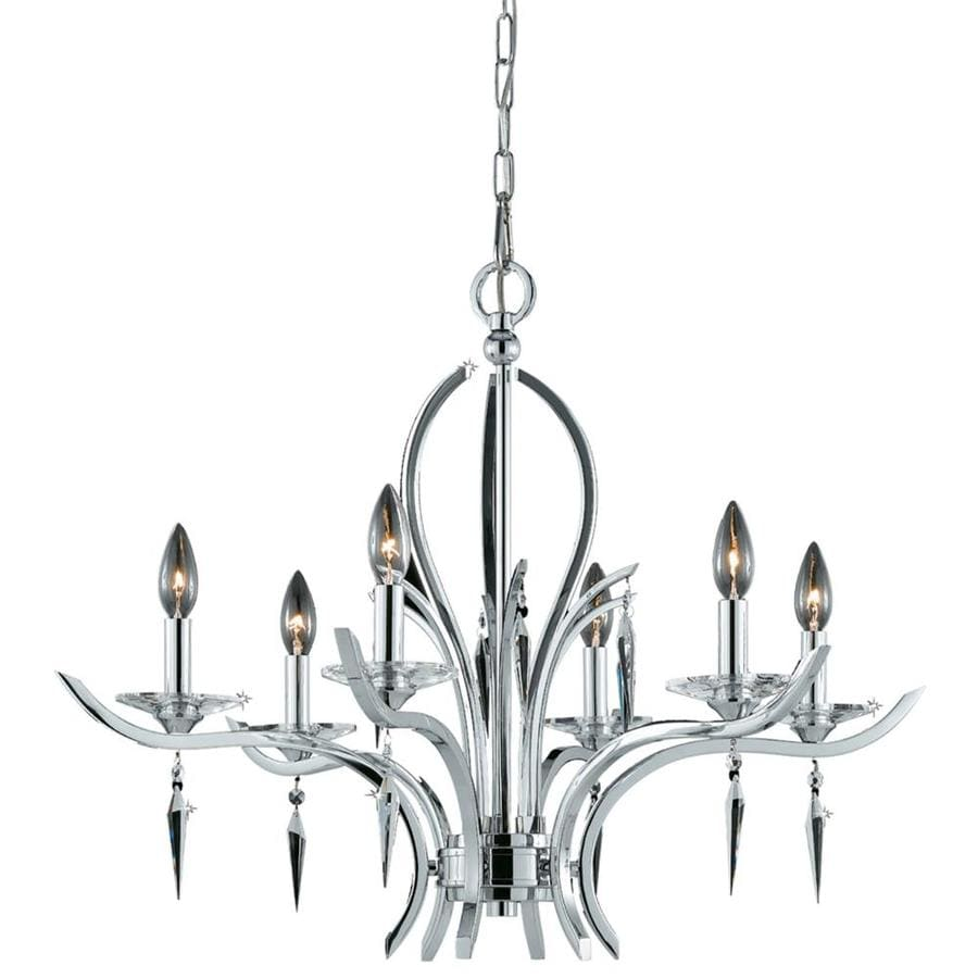 Vieira 29-in 6-Light Chrome Plated Candle Chandelier