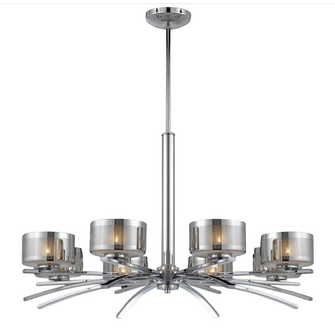Pandora 32-in 8-Light Chrome Candle Chandelier in the