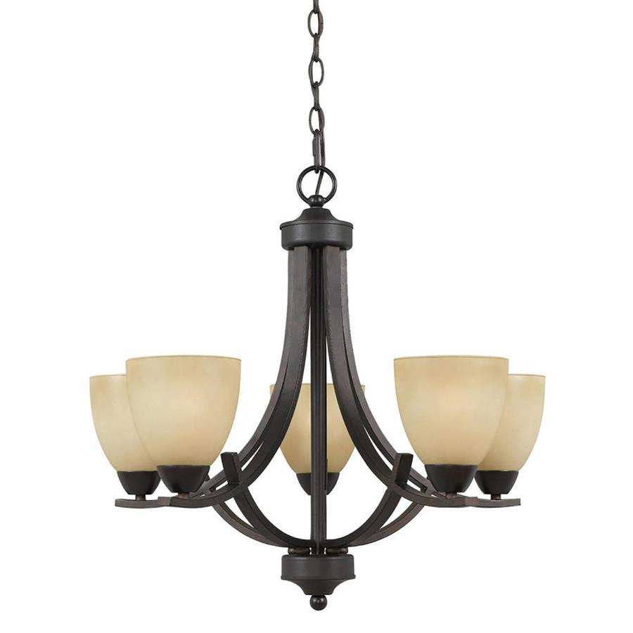 Anitra 24-in 5-Light Bronze Tinted Glass Candle Chandelier