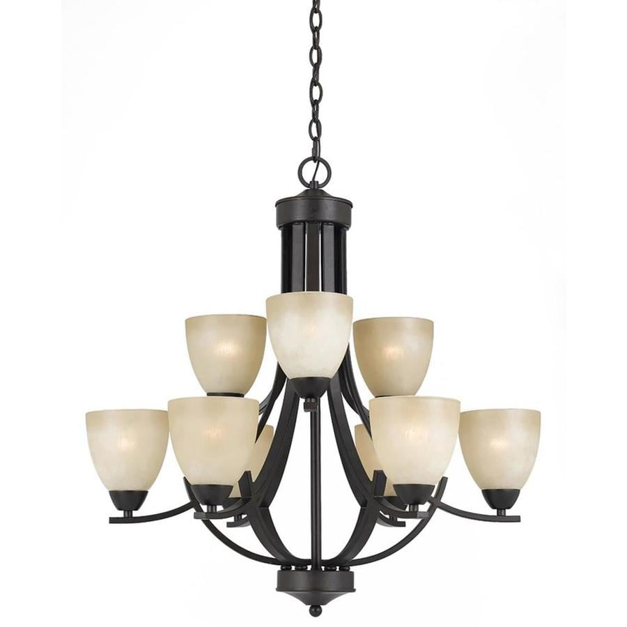 Huth 28-in 9-Light Bronze Tinted Glass Candle Chandelier