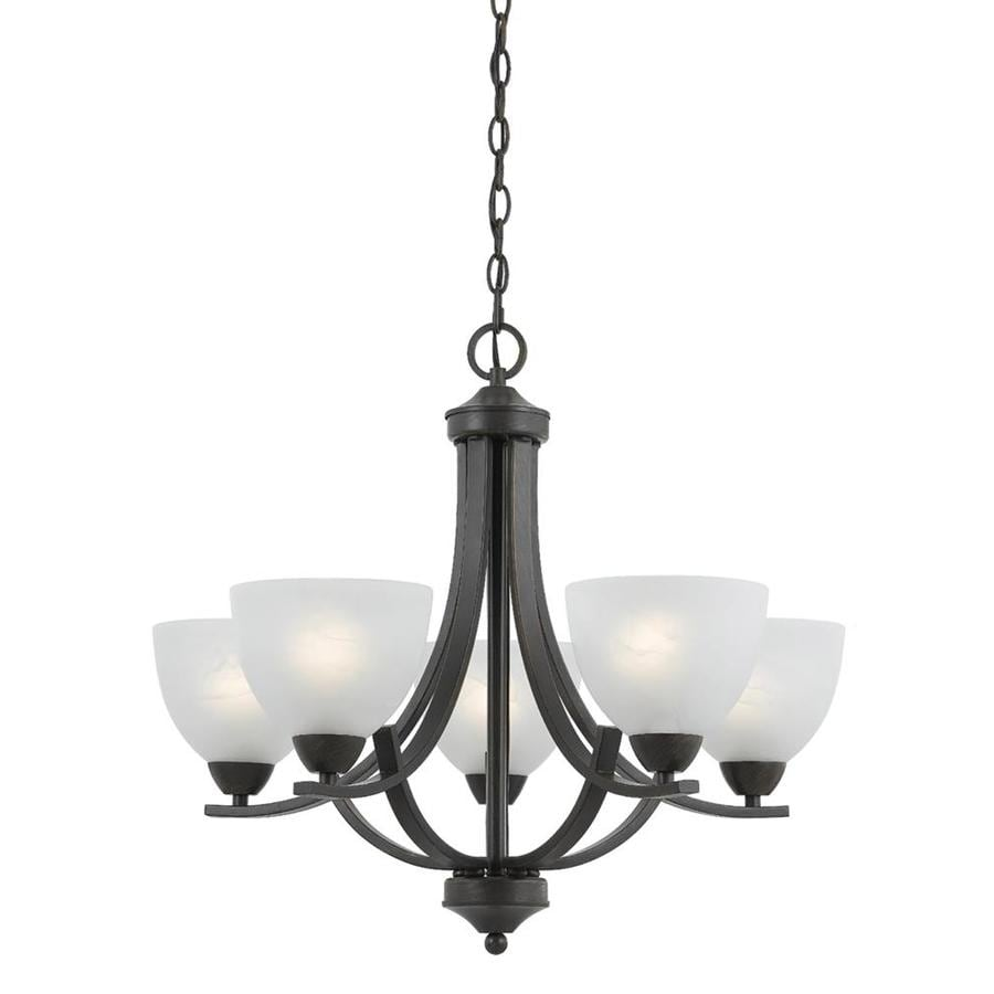 Candace 24-in 5-Light Bronze Alabaster Glass Candle Chandelier