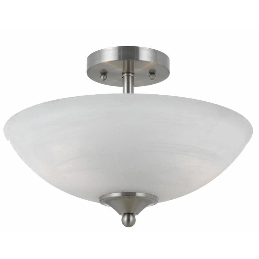Werra 14-in W Satin Nickel Alabaster Glass Semi-Flush Mount Light