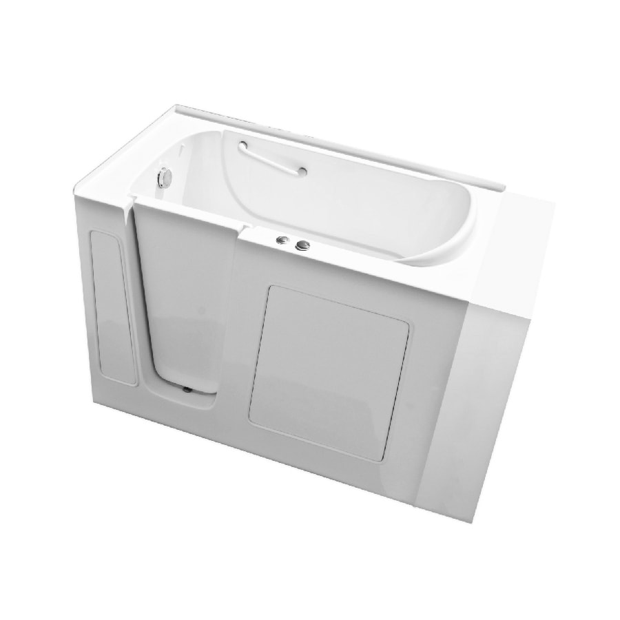 Endurance White Gelcoat and Fiberglass Rectangular Walk-in Whirlpool Tub (Common: 30-in x 54-in; Actual: 38-in x 30-in x 53-in)