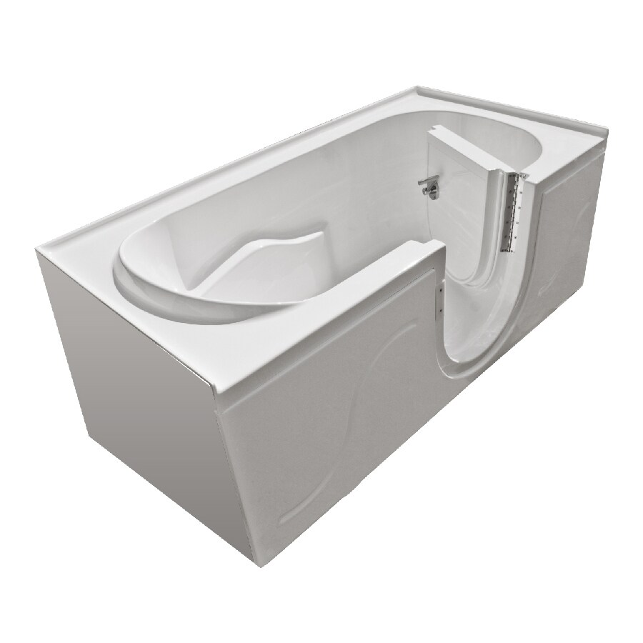 Endurance 60-in x 30-in White Rectangular Walk-In Bathtub with Right-Hand Drain