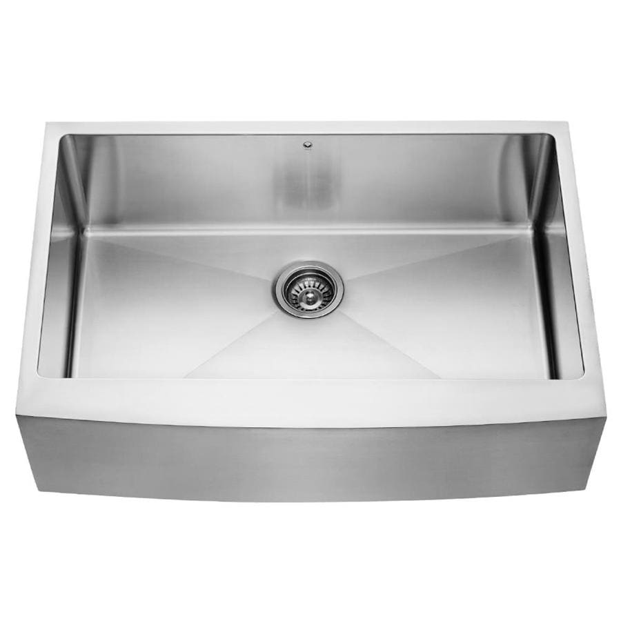 VIGO 33-in x 22.25-in Stainless Steel Single-Basin Apron Front/Farmhouse Commercial Kitchen Sink