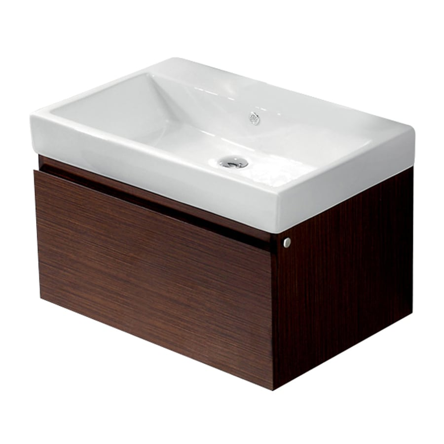 VIGO Wenge Integral Single Sink Bathroom Vanity with Vitreous China Top (Common: 30-in x 20-in; Actual: 30.5-in x 20-in)