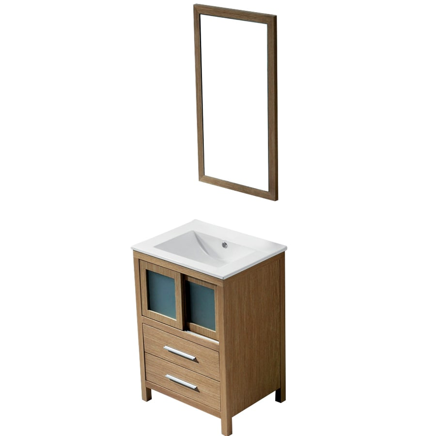 VIGO White Oak Integral Single Sink Bathroom Vanity with Vitreous China Top (Mirror Included) (Common: 24-in x 18-in; Actual: 24-in x 18.5-in)