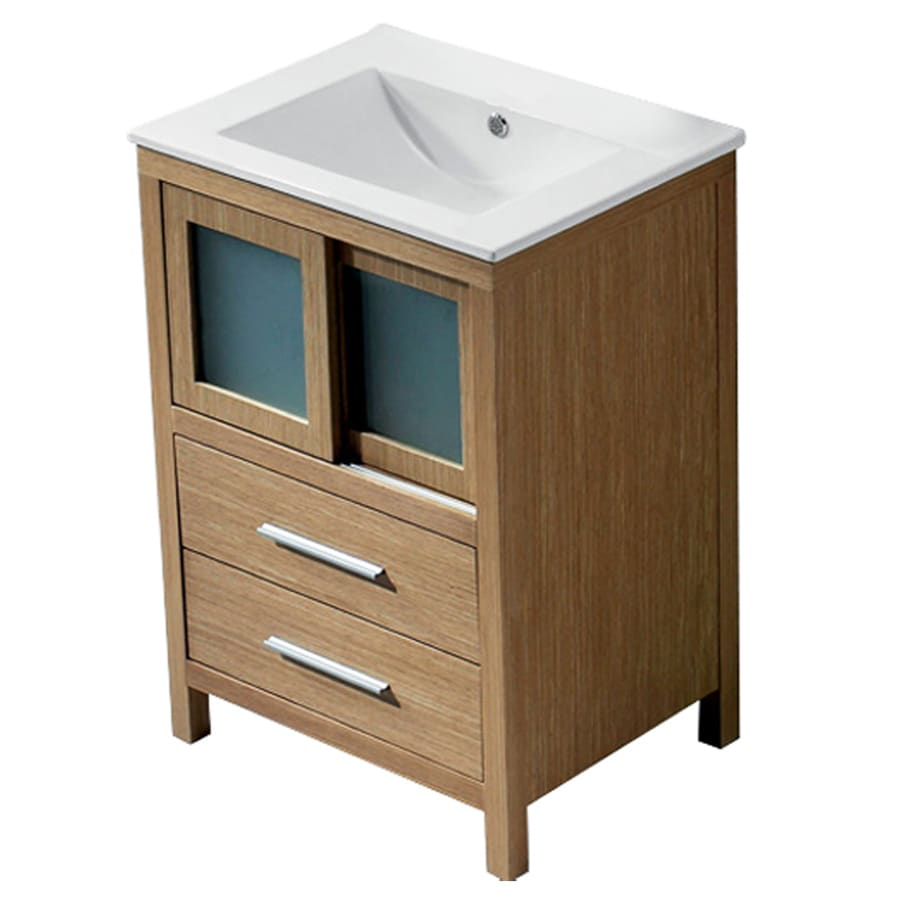 VIGO White Oak Integral Single Sink Bathroom Vanity with Vitreous China Top (Common: 24-in x 18-in; Actual: 24-in x 18.5-in)