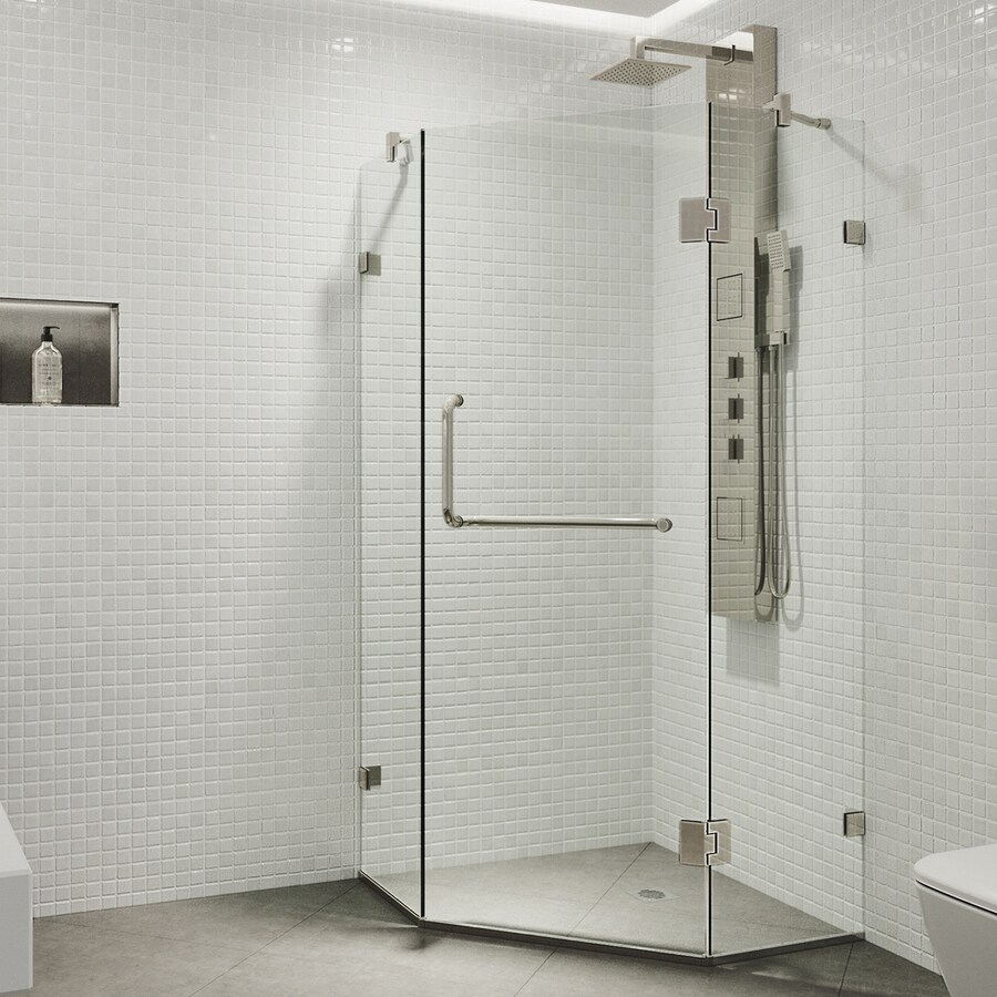 VIGO Piedmont 38.125-in W x 73-3/8-in H Frameless Neo-Angle Shower Door