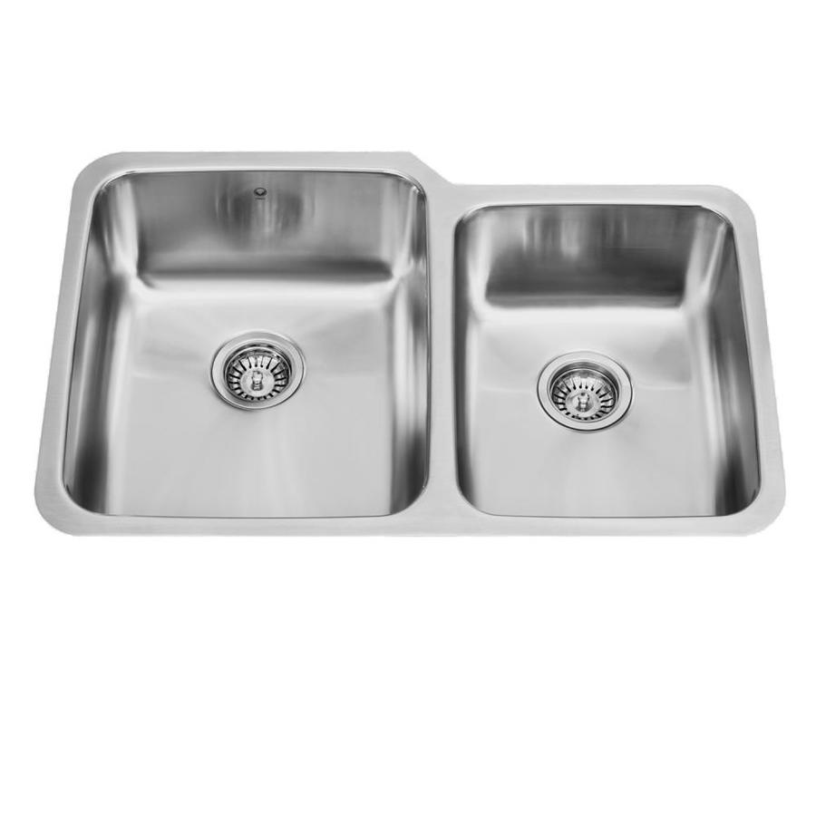 VIGO 32-in x 20.75-in Stainless Steel Double-Basin Undermount Commercial Kitchen Sink