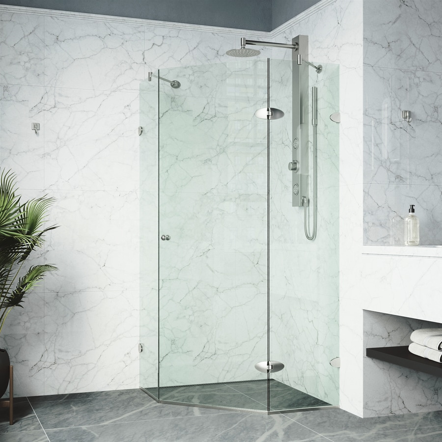 VIGO Neo-Angle Shower Enclosure 40-in W x 73-3/8-in H Frameless Neo-Angle Shower Door