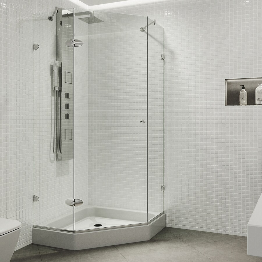 VIGO Neo-Angle Shower Enclosure 54-in W x 73-3/8-in H Frameless Neo-Angle Shower Door