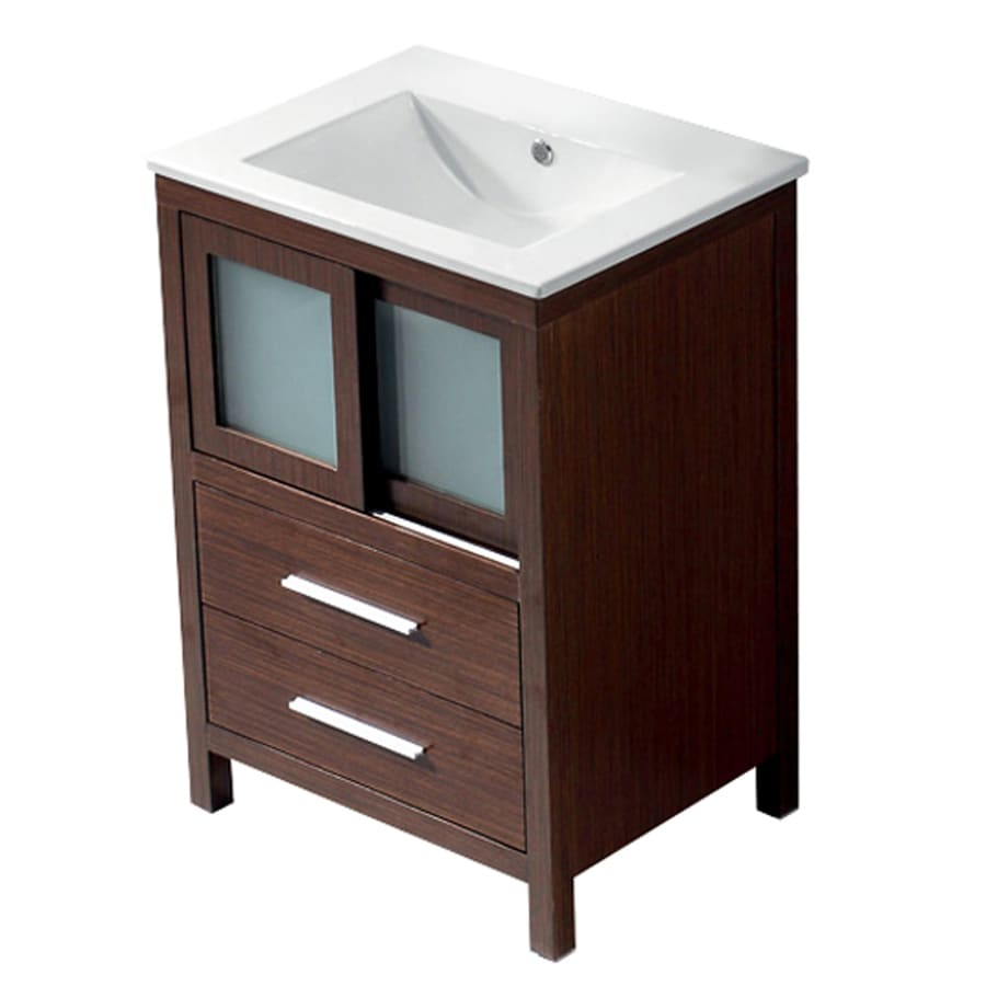 VIGO Wenge Integral Single Sink Bathroom Vanity with Vitreous China Top (Common: 24-in x 18-in; Actual: 24-in x 18.5-in)