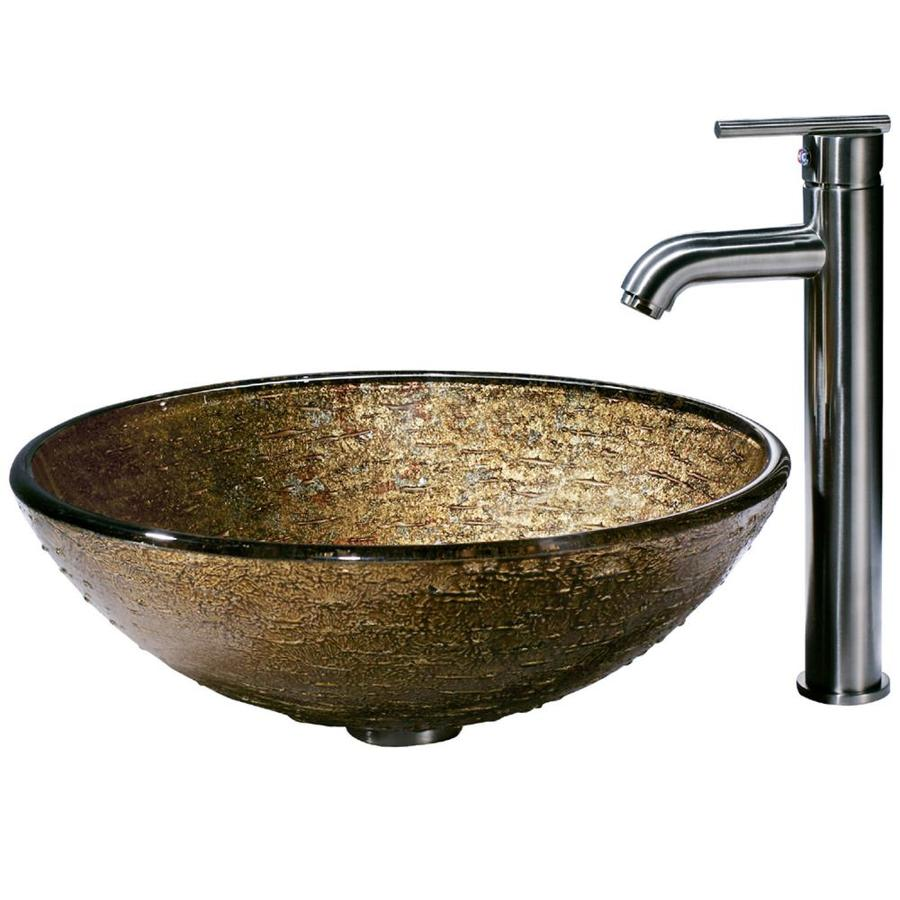 VIGO Glass Sink Multicolor Glass Vessel Bathroom Sink with Faucet (Drain Included)