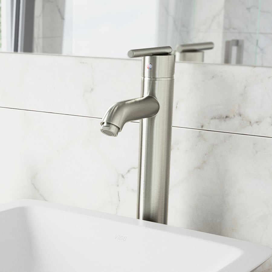 Shop vigo brushed nickel 1 handle single hole watersense for Bathroom faucets lowes