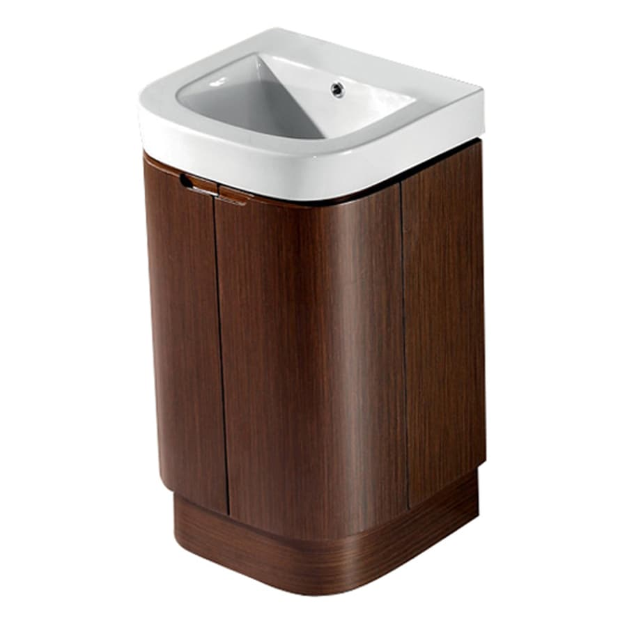 VIGO Wenge Integral Single Sink Bathroom Vanity with Vitreous China Top (Mirror Included) (Common: 19-in x 18-in; Actual: 20-in x 17.75-in)