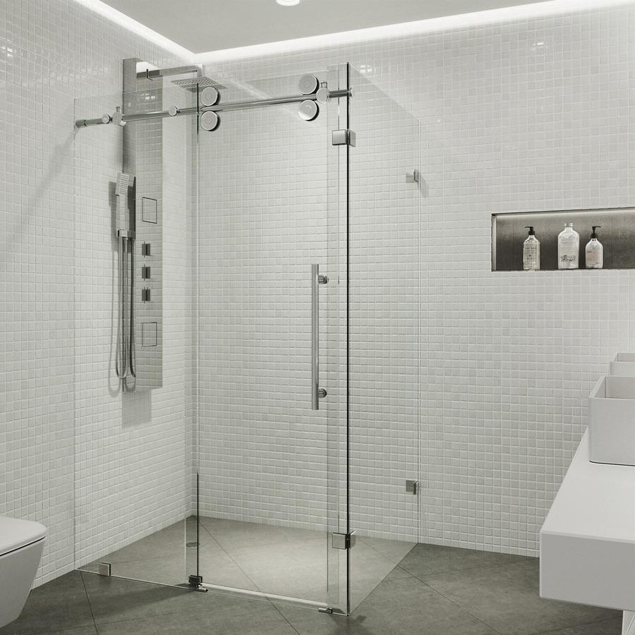 VIGO 34.625-in to 36.125-in W x 79.875-in H Frameless Sliding Shower Door