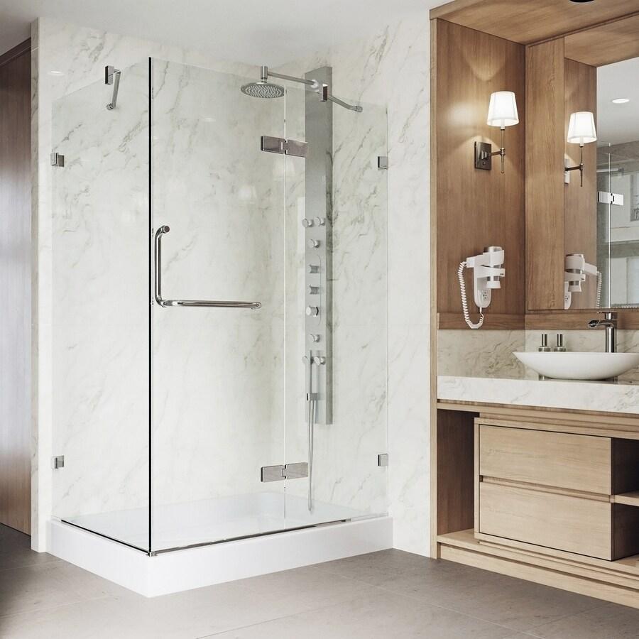VIGO Monteray 36-in to 48-in Frameless Hinged Shower Door