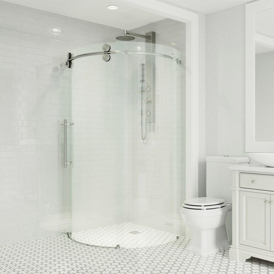 VIGO Sanibel 34-in to 34-in W x 74.625-in H Frameless Sliding Shower Door