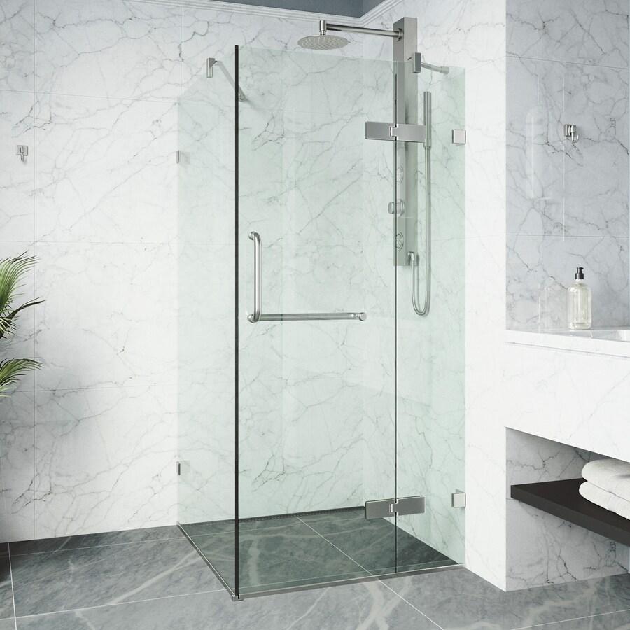VIGO Monteray 22.875-in to 22.875-in Frameless Hinged Shower Door