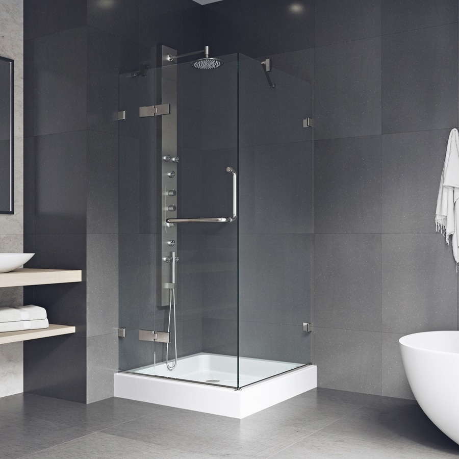 VIGO Monteray 46-in to 46-in Frameless Hinged Shower Door