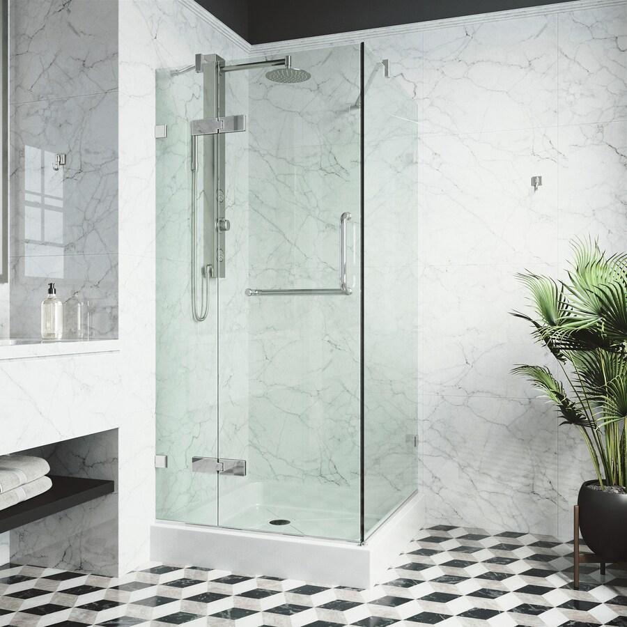 VIGO Monteray 30.25-in to 30.25-in Frameless Hinged Shower Door