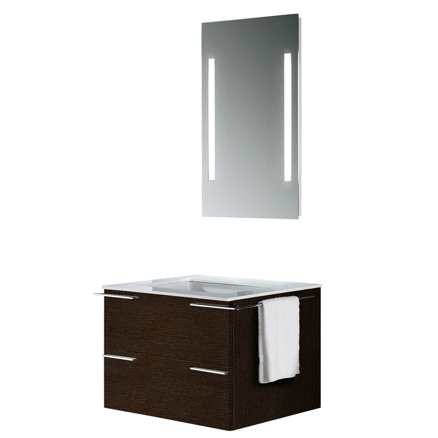 VIGO Wenge Integral Single Sink Bathroom Vanity with Vitreous China Top (Mirror Included) (Common: 31-in x 23-in; Actual: 31.25-in x 22.875-in)