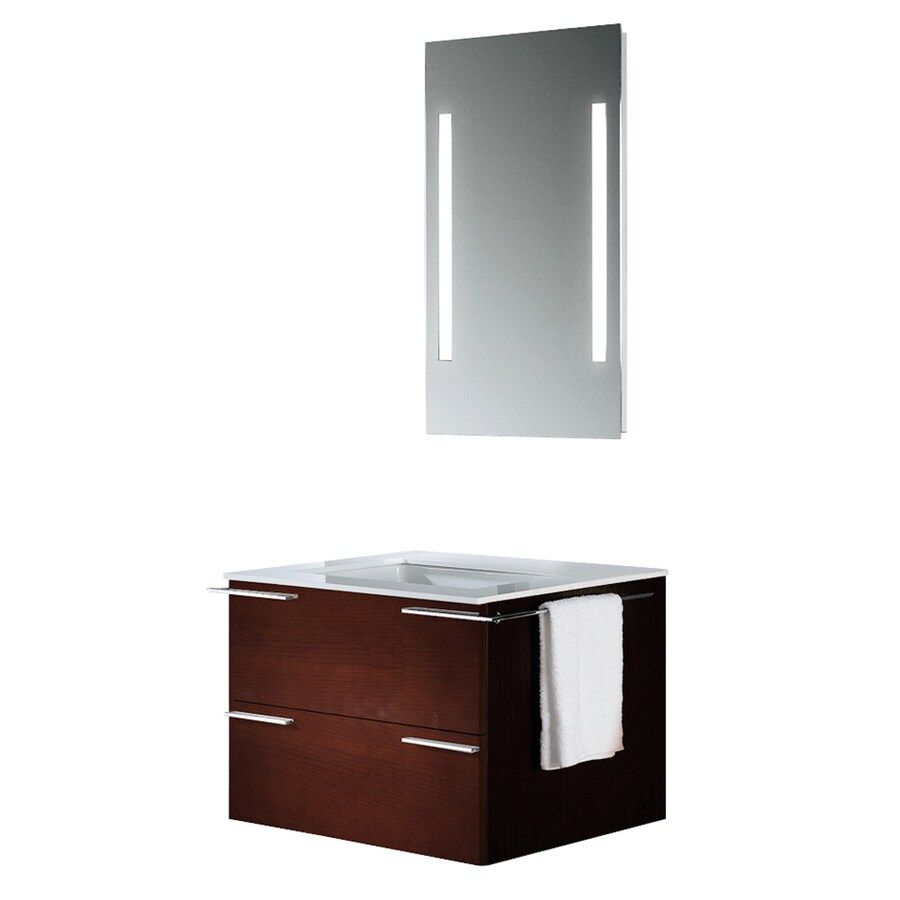 VIGO African Walnut Integral Single Sink Bathroom Vanity with Vitreous China Top (Common: 31-in x 23-in; Actual: 31.25-in x 22.875-in)