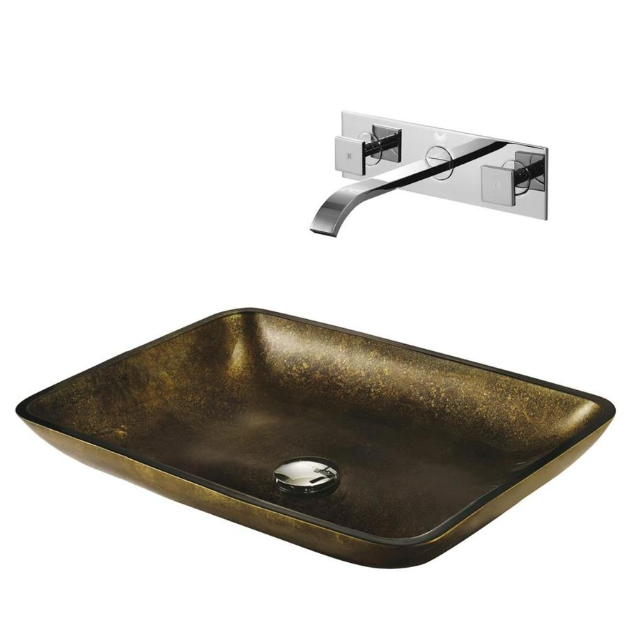 Shop Vigo Copper Glass Tempered Glass Vessel Rectangular Bathroom Sink With Faucet Drain